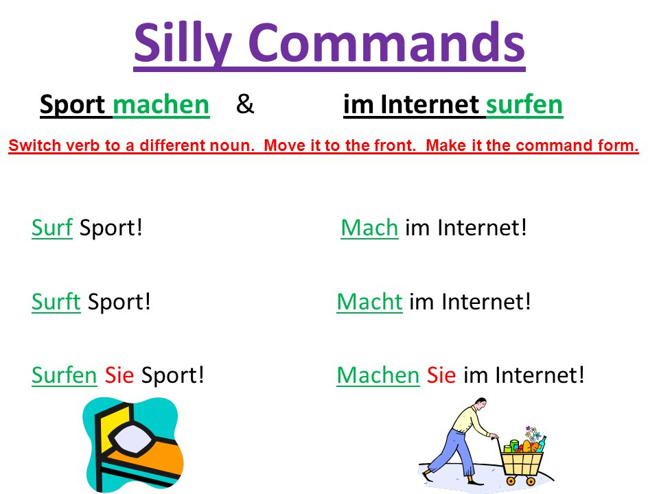 Silly Commands Sport machen & im Internet surfen
