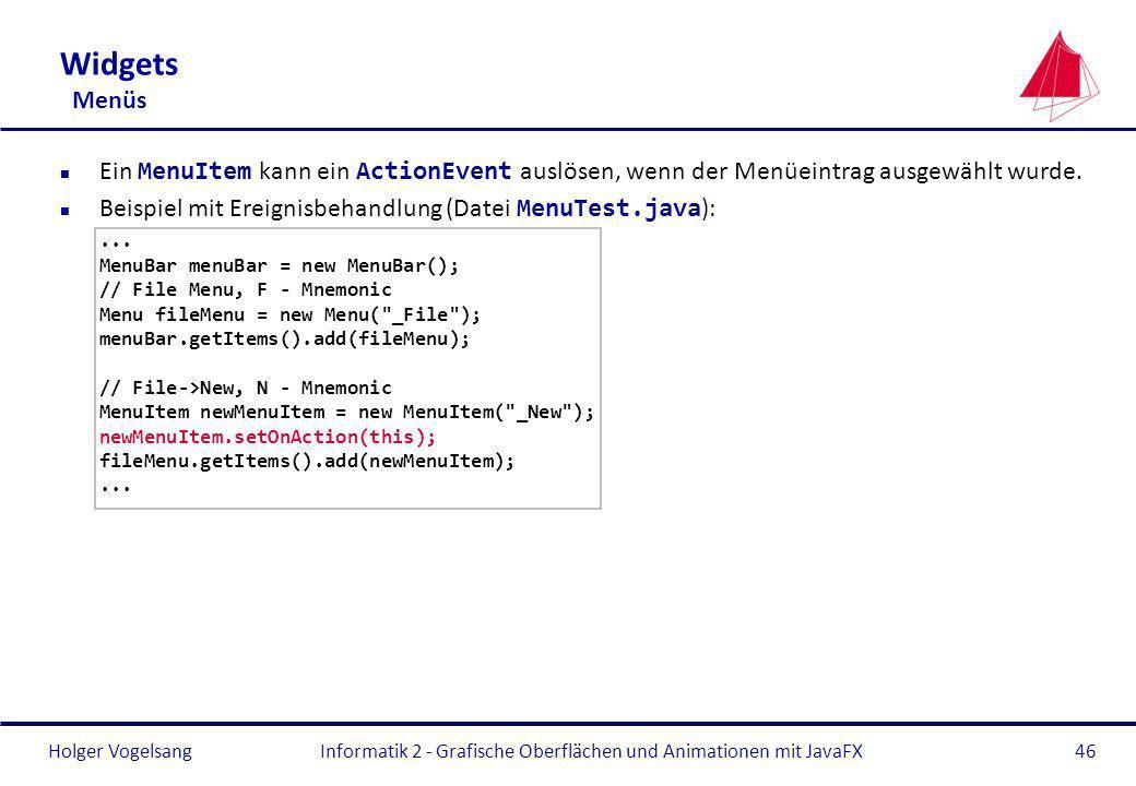 Informatik 2 - Grafische Oberflächen und Animationen mit JavaFX