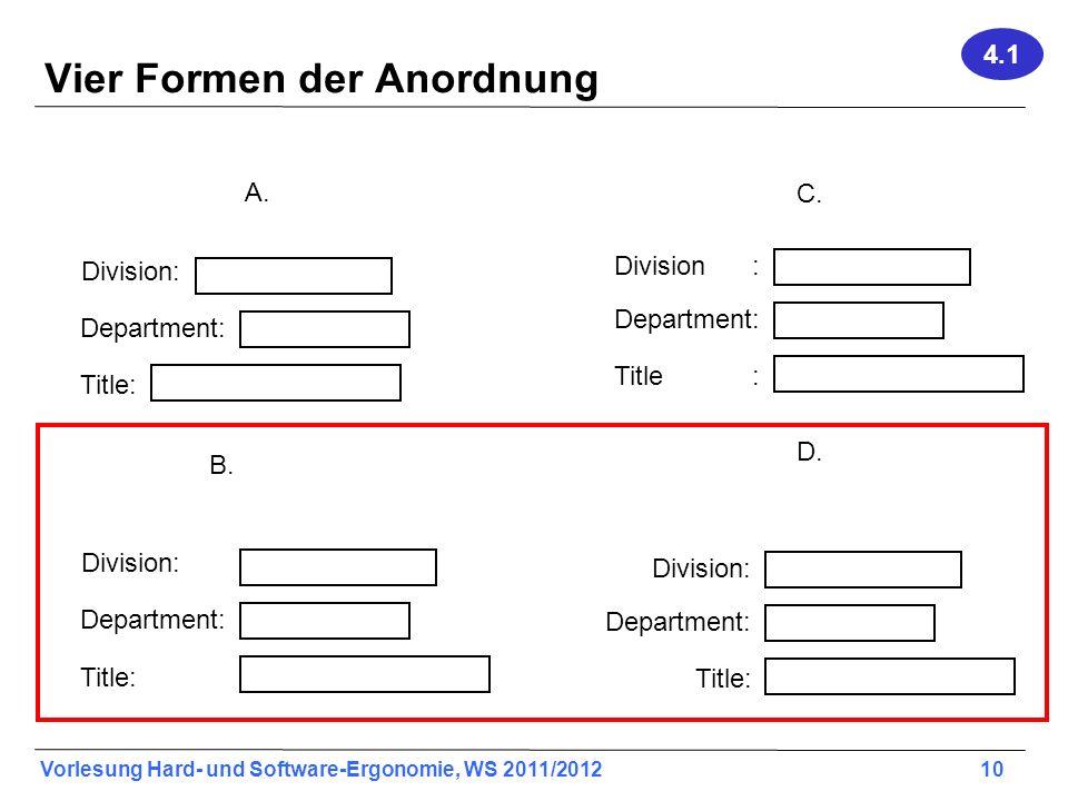 Vier Formen der Anordnung
