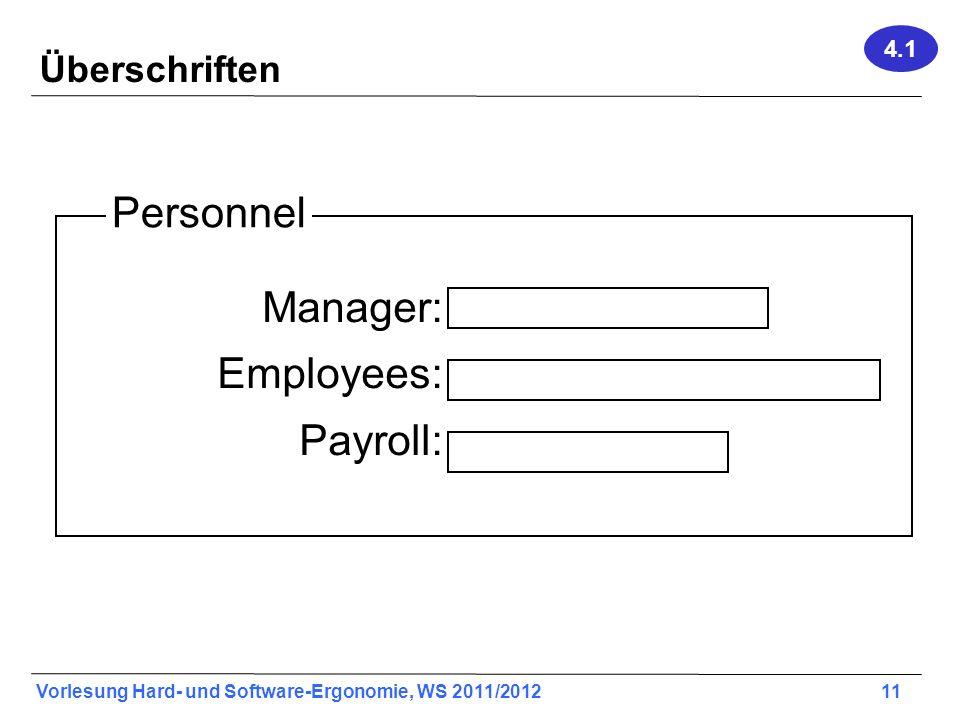 4.1 Überschriften Personnel Manager: Employees: Payroll: