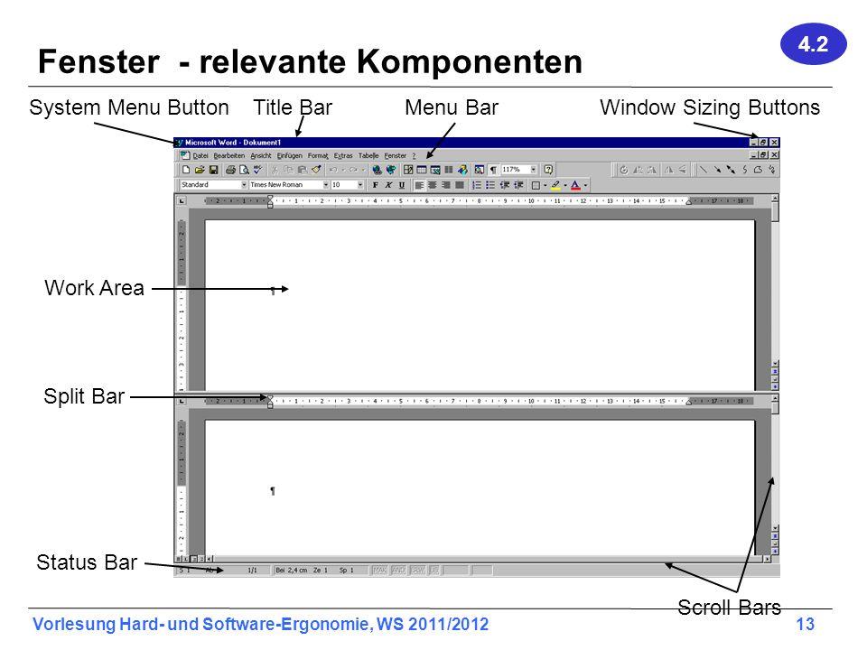 Fenster - relevante Komponenten