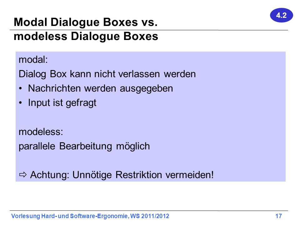 Modal Dialogue Boxes vs. modeless Dialogue Boxes