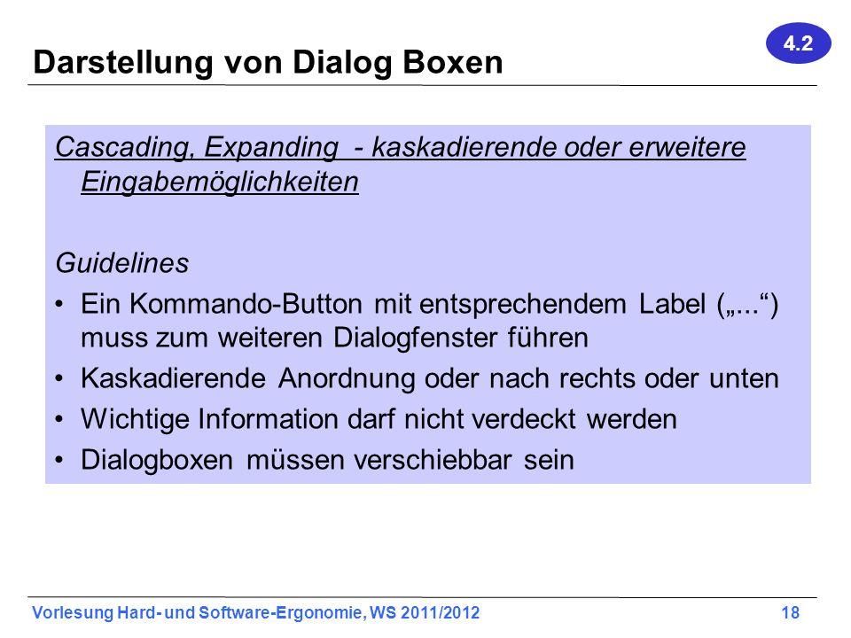 Darstellung von Dialog Boxen