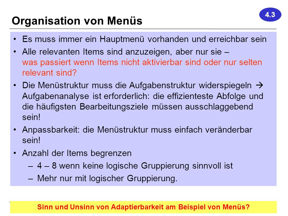 Organisation von Menüs
