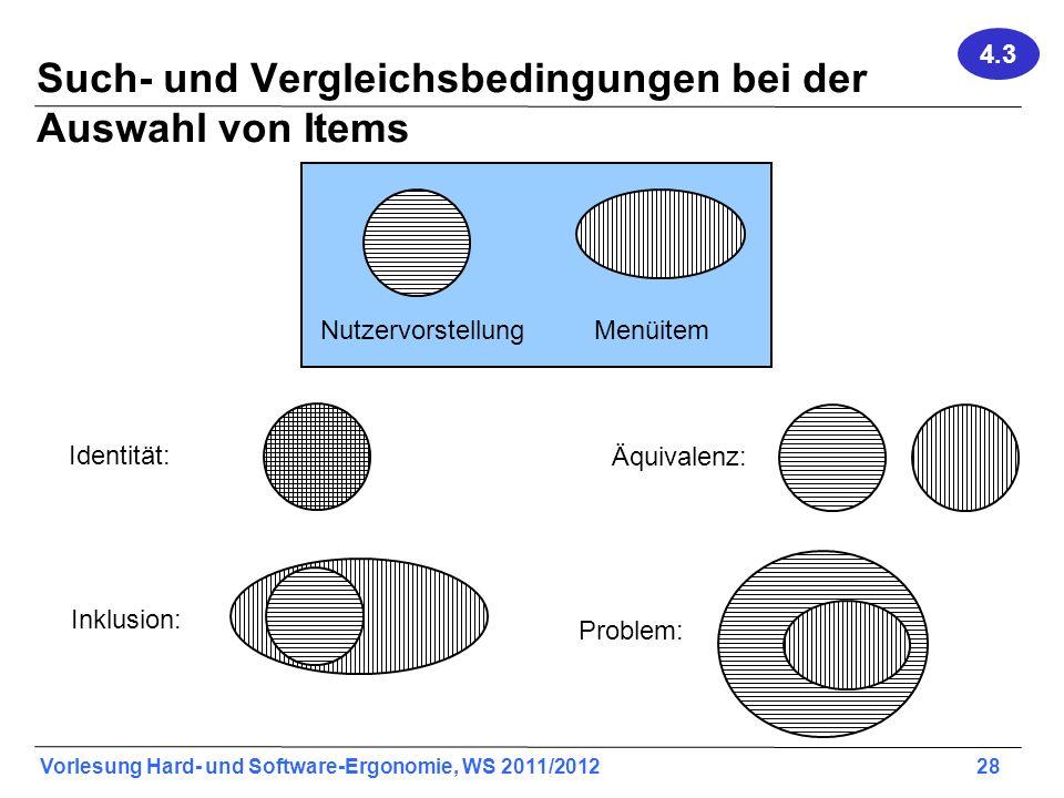 Such- und Vergleichsbedingungen bei der Auswahl von Items