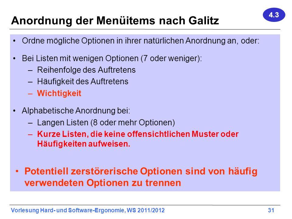 Anordnung der Menüitems nach Galitz