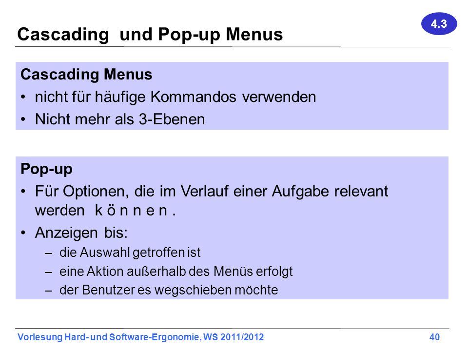 Cascading und Pop-up Menus