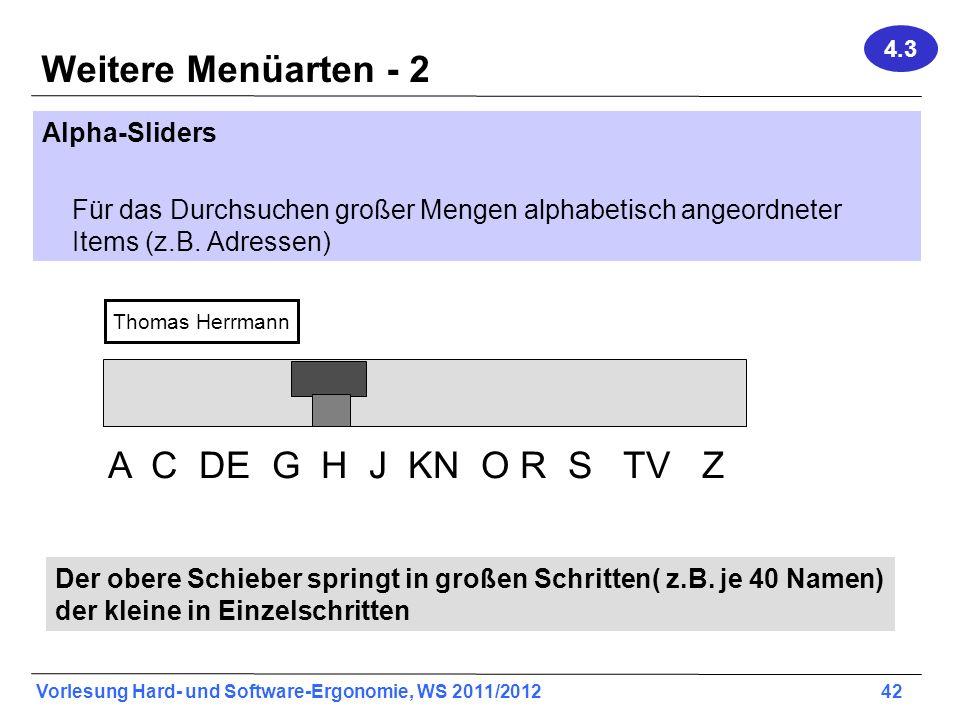 Weitere Menüarten - 2 A C DE G H J KN O R S TV Z Alpha-Sliders