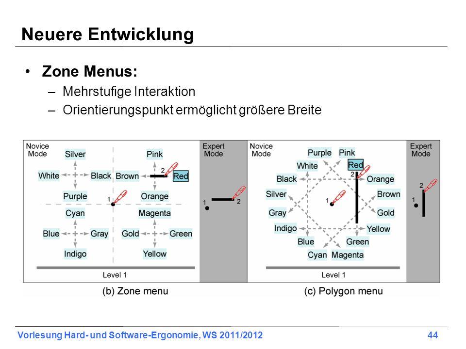 Neuere Entwicklung Zone Menus: Mehrstufige Interaktion