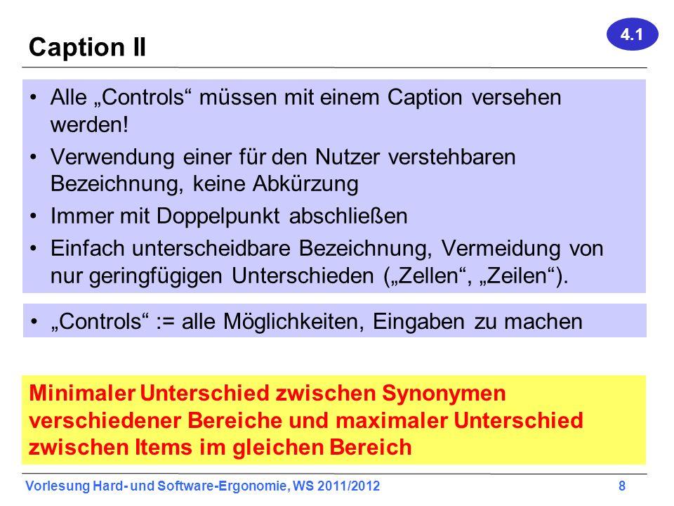 """Caption II Alle """"Controls müssen mit einem Caption versehen werden!"""