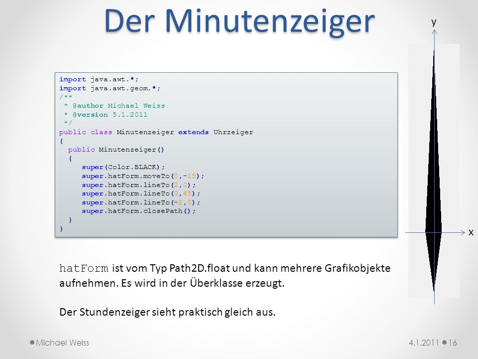 Der Minutenzeiger y. import java.awt.*; import java.awt.geom.*; /** * @author Michael Weiss. * @version 5.1.2011.