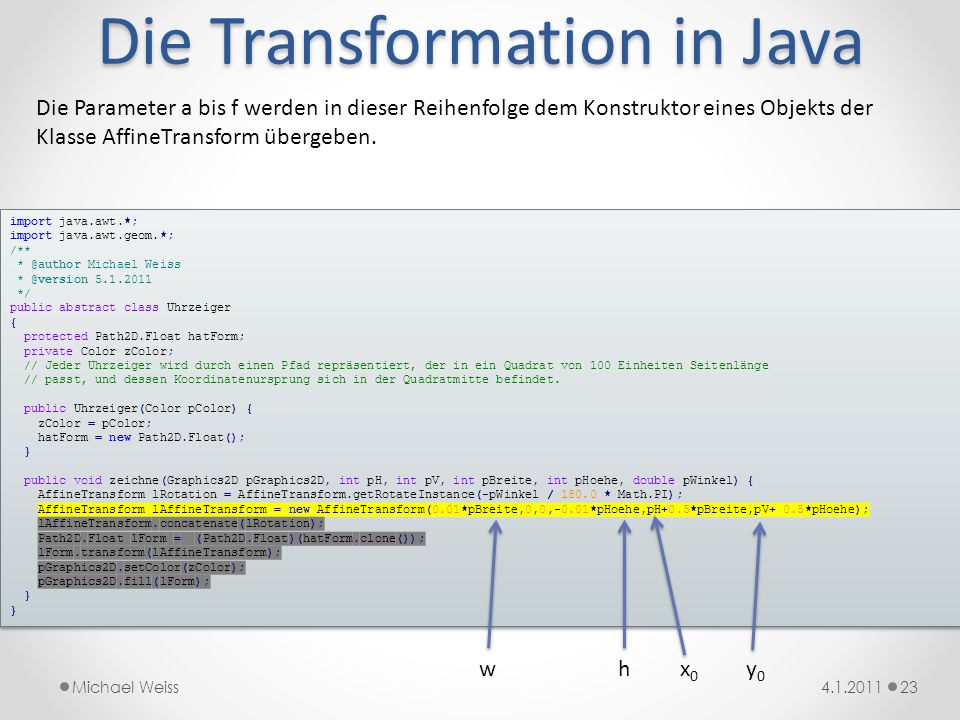 Die Transformation in Java