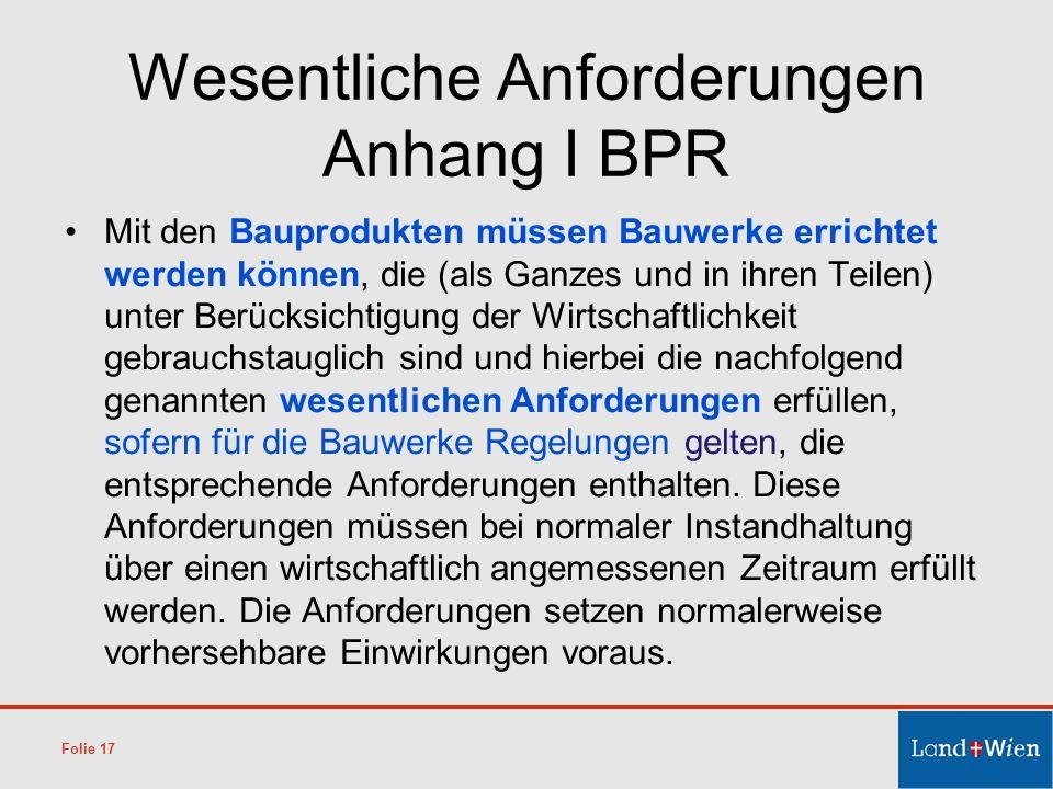 Wesentliche Anforderungen Anhang I BPR