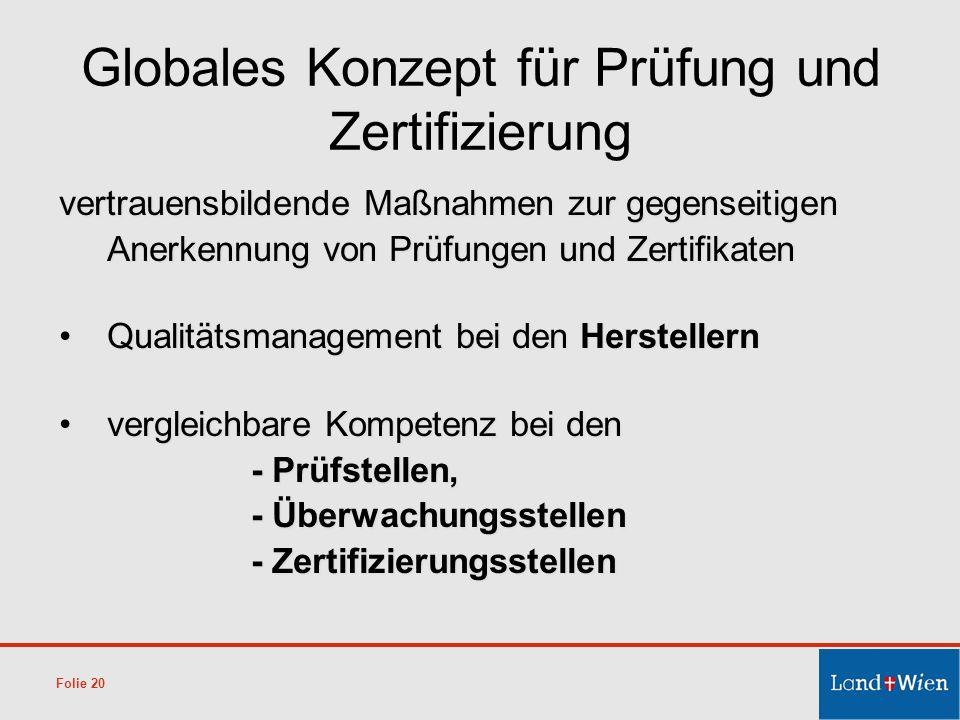 Globales Konzept für Prüfung und Zertifizierung