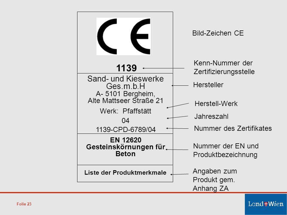EN 12620 Gesteinskörnungen für Beton Liste der Produktmerkmale