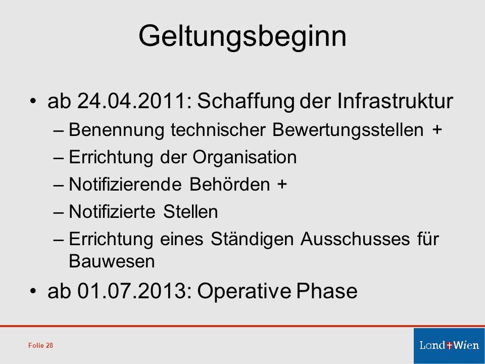 Geltungsbeginn ab 24.04.2011: Schaffung der Infrastruktur
