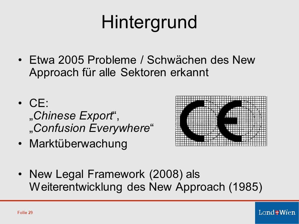 """Hintergrund Etwa 2005 Probleme / Schwächen des New Approach für alle Sektoren erkannt. CE: """"Chinese Export , """"Confusion Everywhere"""