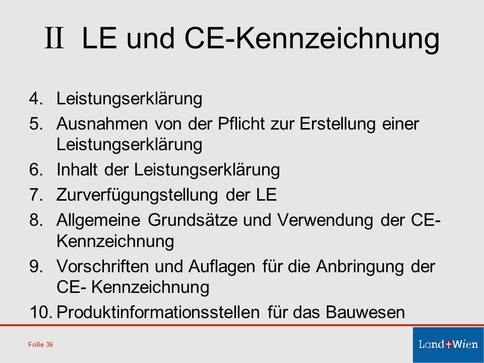 II LE und CE-Kennzeichnung