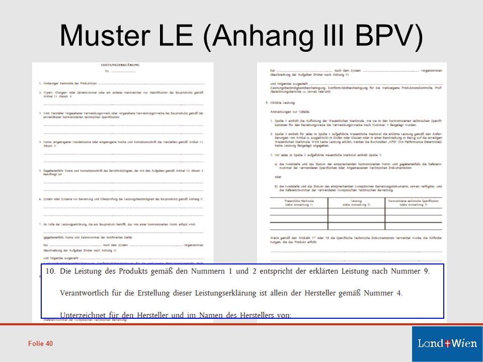 Muster LE (Anhang III BPV)