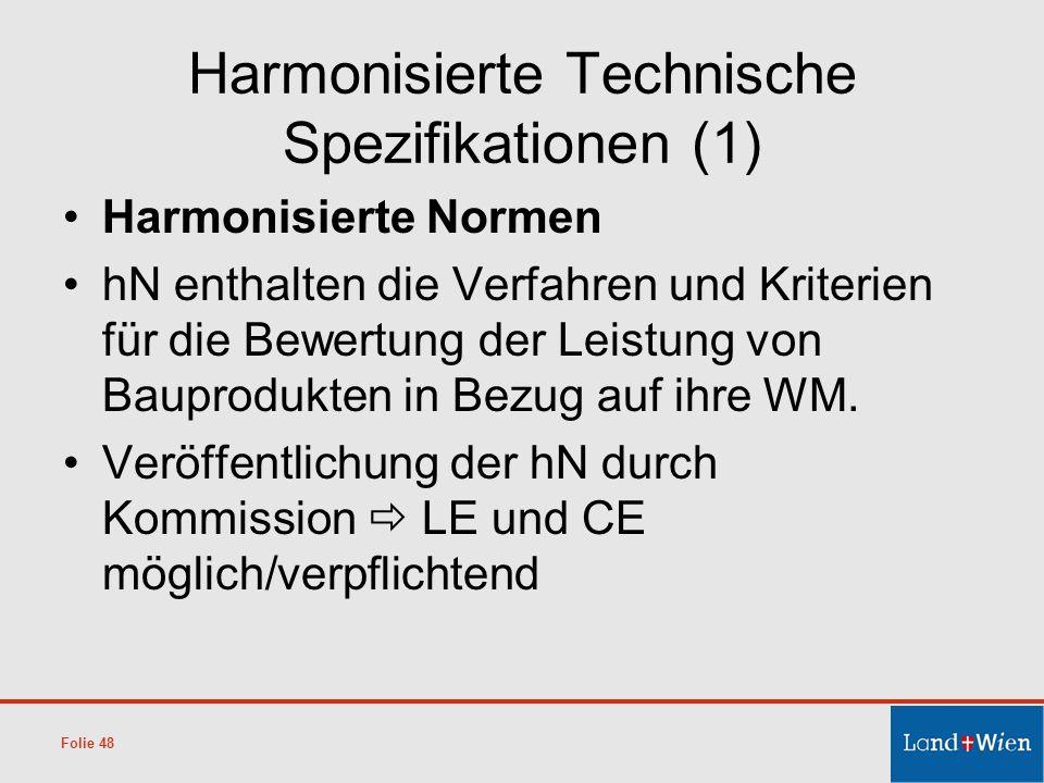 Harmonisierte Technische Spezifikationen (1)
