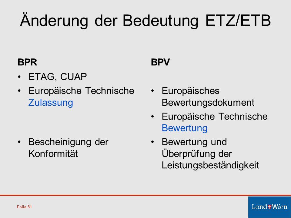 Änderung der Bedeutung ETZ/ETB