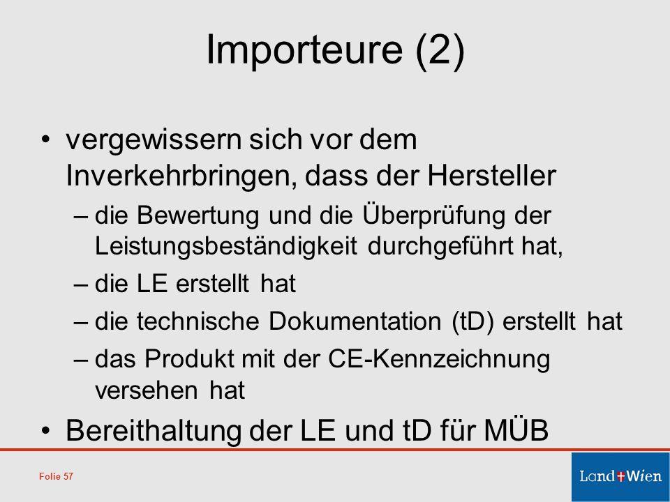 Importeure (2) vergewissern sich vor dem Inverkehrbringen, dass der Hersteller.