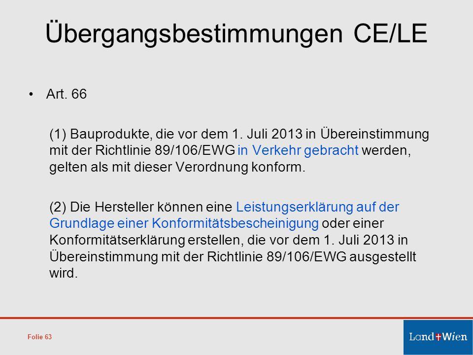 Übergangsbestimmungen CE/LE