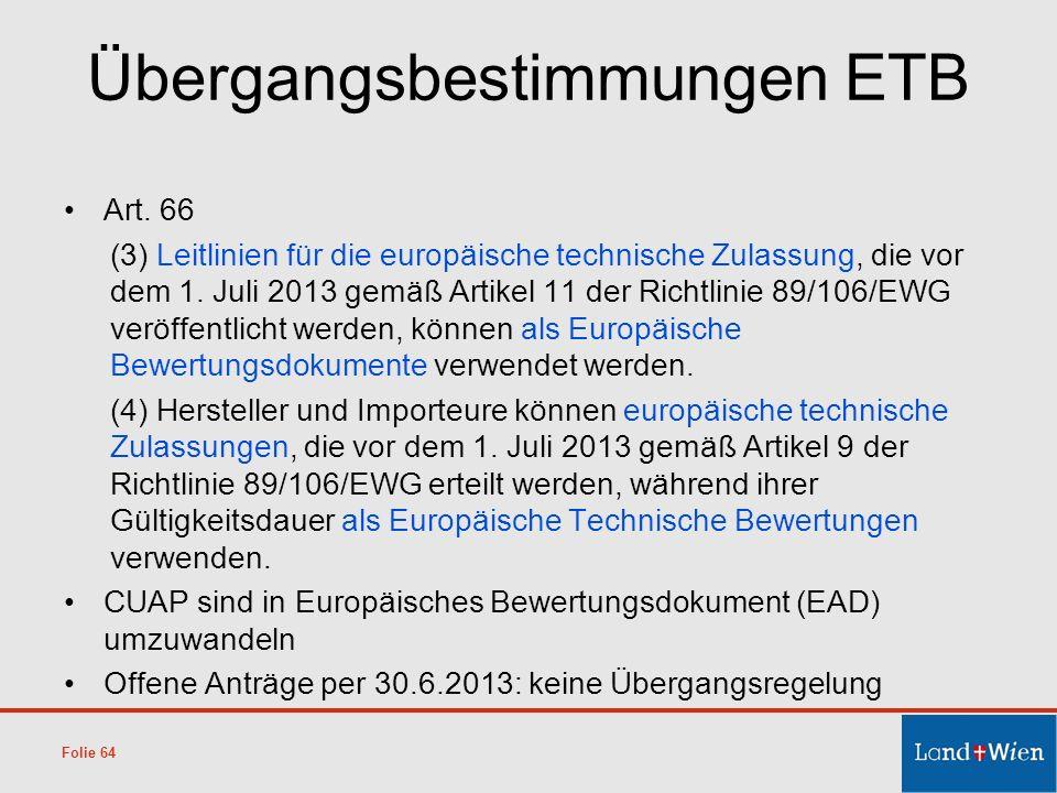 Übergangsbestimmungen ETB