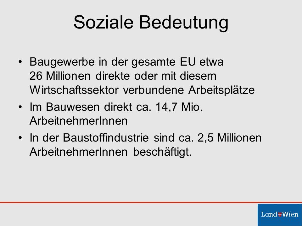 Soziale Bedeutung Baugewerbe in der gesamte EU etwa 26 Millionen direkte oder mit diesem Wirtschaftssektor verbundene Arbeitsplätze.