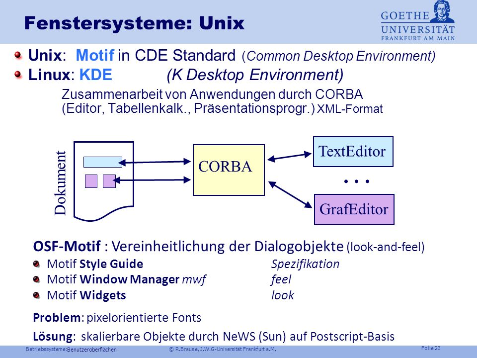 Fenstersysteme: Unix Unix: Motif in CDE Standard (Common Desktop Environment) Linux: KDE (K Desktop Environment)