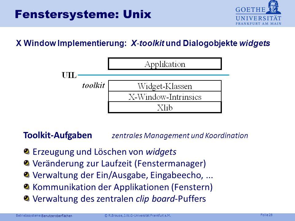 Fenstersysteme: Unix X Window Implementierung: X-toolkit und Dialogobjekte widgets. Toolkit-Aufgaben zentrales Management und Koordination.
