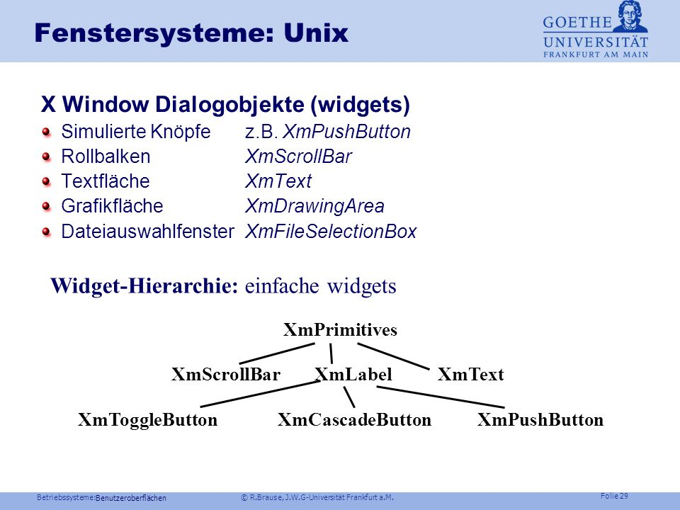Fenstersysteme: Unix X Window Dialogobjekte (widgets)