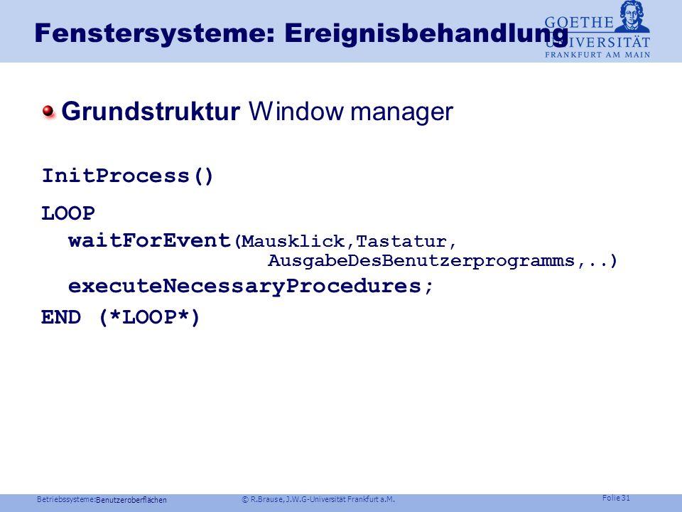 Fenstersysteme: Ereignisbehandlung