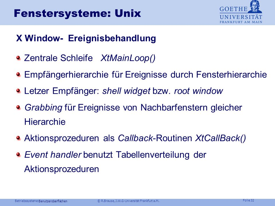 Fenstersysteme: Unix X Window- Ereignisbehandlung