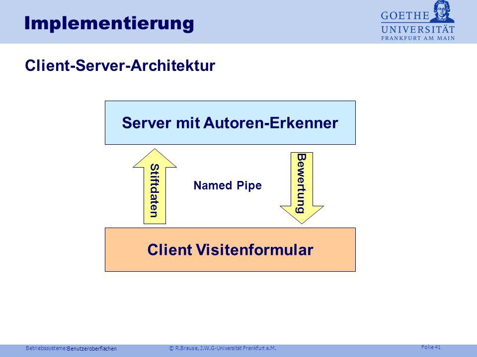 Server mit Autoren-Erkenner Client Visitenformular