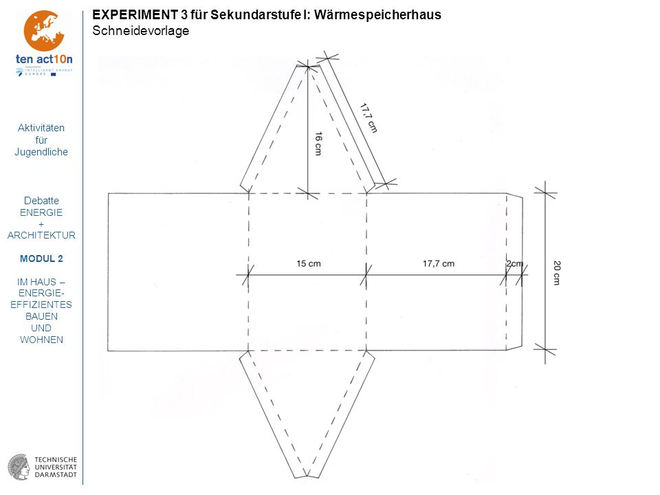 EXPERIMENT 3 für Sekundarstufe I: Wärmespeicherhaus