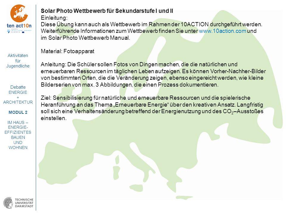 Solar Photo Wettbewerb für Sekundarstufe I und II