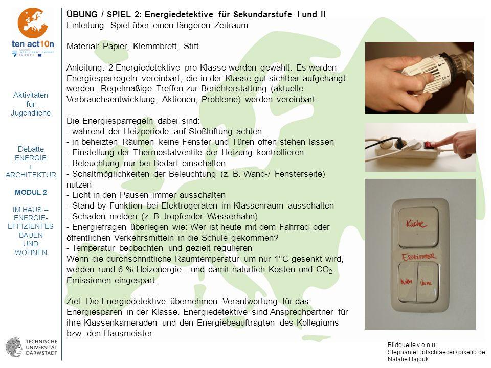ÜBUNG / SPIEL 2: Energiedetektive für Sekundarstufe I und II