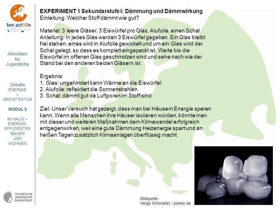 EXPERIMENT 1 Sekundarstufe I: Dämmung und Dämmwirkung