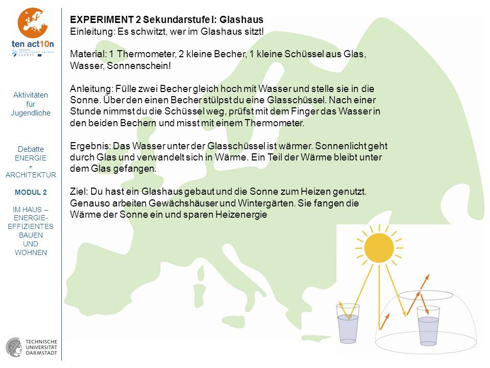 EXPERIMENT 2 Sekundarstufe I: Glashaus