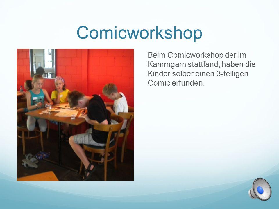 Comicworkshop Beim Comicworkshop der im Kammgarn stattfand, haben die Kinder selber einen 3-teiligen Comic erfunden.