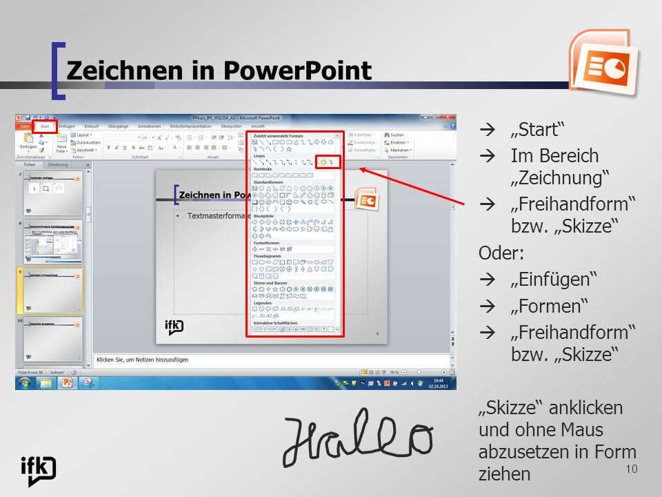 Zeichnen in PowerPoint