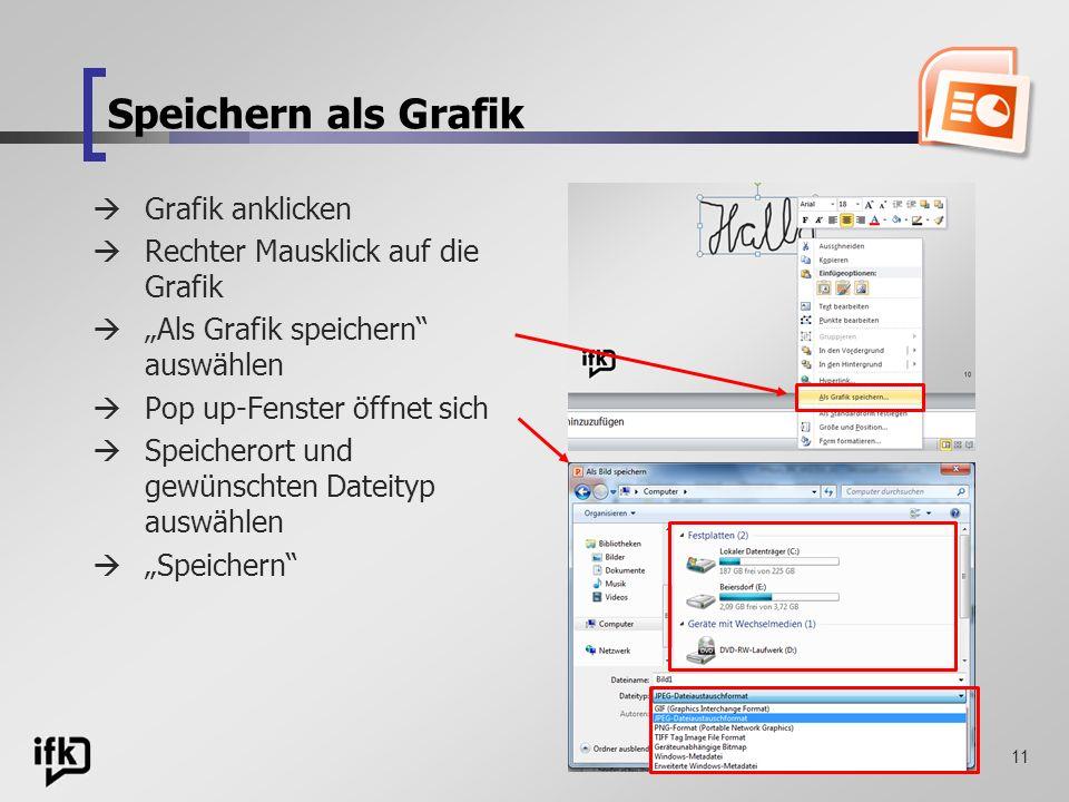 Speichern als Grafik Grafik anklicken Rechter Mausklick auf die Grafik