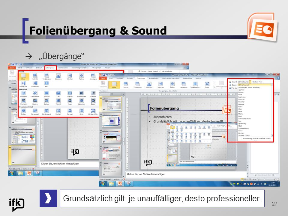 Folienübergang & Sound