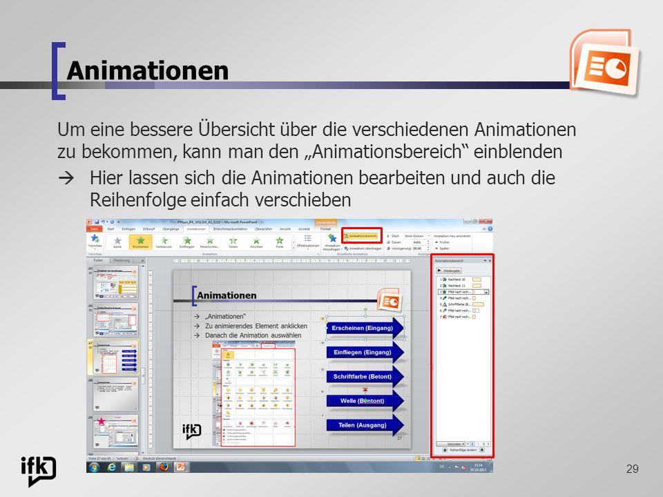 """Animationen Um eine bessere Übersicht über die verschiedenen Animationen zu bekommen, kann man den """"Animationsbereich einblenden."""