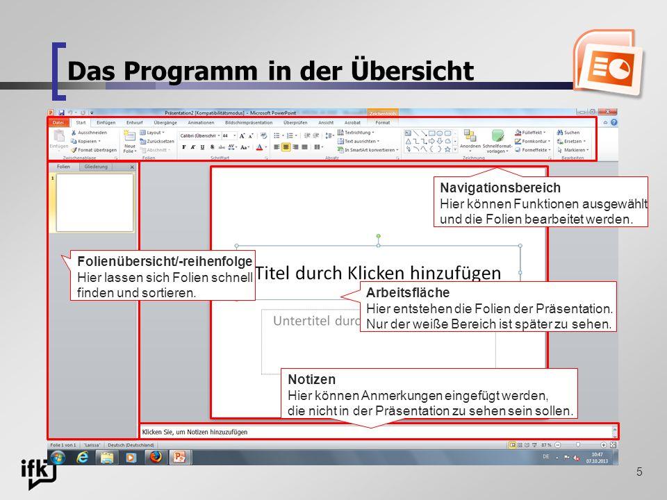 Das Programm in der Übersicht