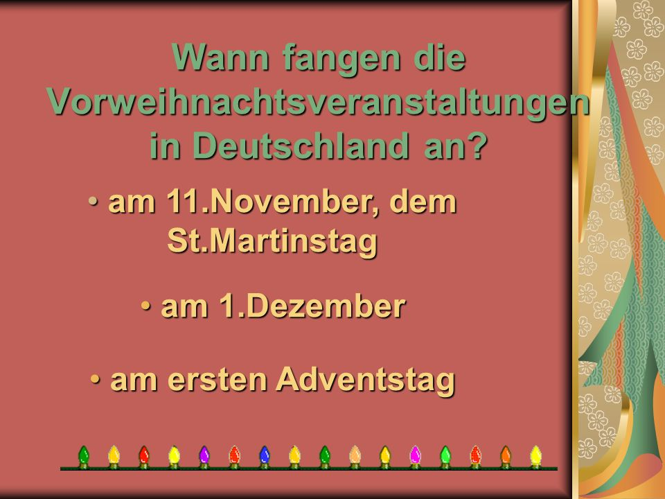 Wann fangen die Vorweihnachtsveranstaltungen in Deutschland an