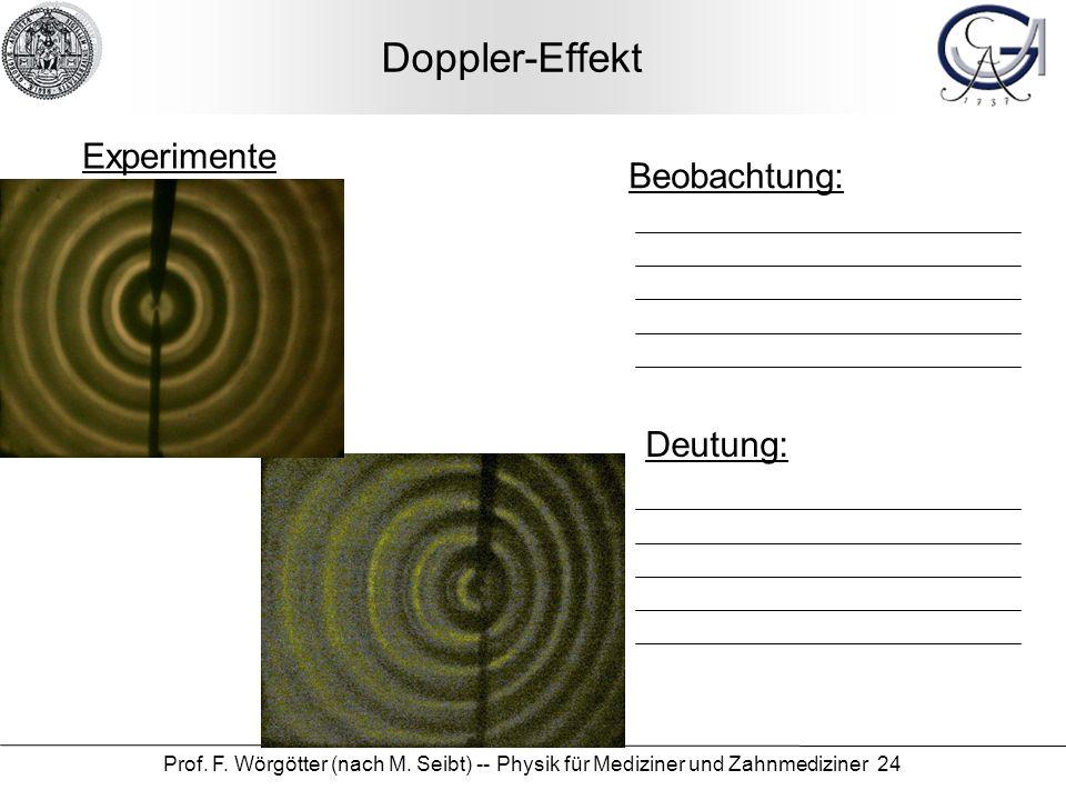 Doppler-Effekt Experimente Beobachtung: Deutung: