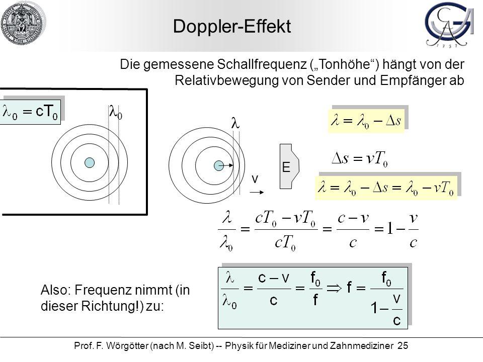 """Doppler-Effekt Die gemessene Schallfrequenz (""""Tonhöhe ) hängt von der Relativbewegung von Sender und Empfänger ab."""