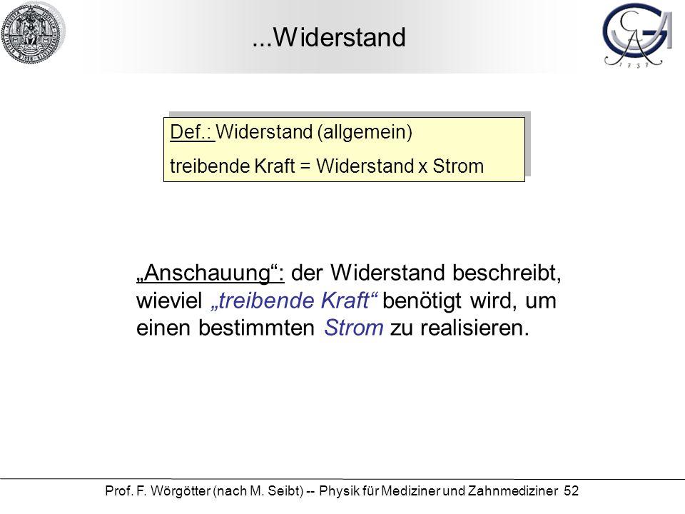 ...Widerstand Def.: Widerstand (allgemein) treibende Kraft = Widerstand x Strom.